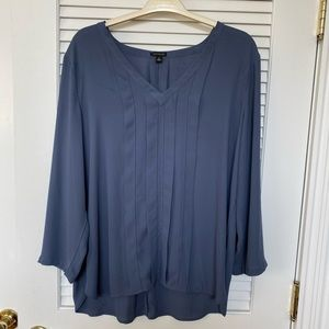 Anne Taylor Gray Blue Pleated V-Neck Blouse